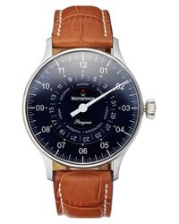 Meistersinger - Blue 'pangaea Day Date' Automatic Single Hand Leather Strap Watch for Men - Lyst