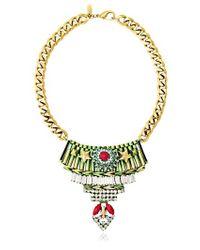 Iosselliani Green Full Metal Jewels Necklace