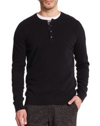 VINCE | Black Cashmere Henley for Men | Lyst