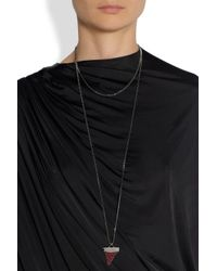 Givenchy - Red Shark Tooth Necklace in Gunmetalplated Brass and Crystal - Lyst