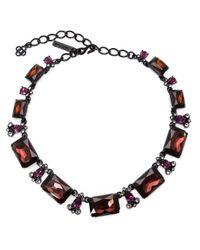 Oscar de la Renta - Black Rectangular Crystal Necklace - Lyst
