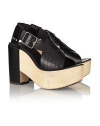 Thakoon Addition Black Addition Bassy Woven Leather Platform Sandals