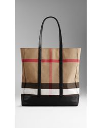 Burberry | Black Small Canvas Check And Leather Tote Bag for Men | Lyst