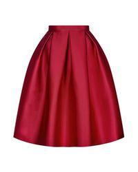 TOPSHOP Red Satin Prom Midi Skirt