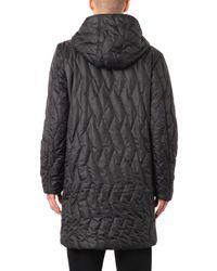 Christopher Raeburn Black Quilted Hooded Duffle Coat for men