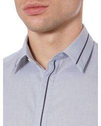 Kenneth Cole - Gray Cross Contrast Insert Panel Detail Shirt for Men - Lyst
