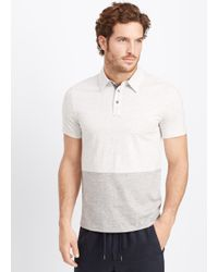 Vince | Blue Jaspé Jersey Colorblock Short Sleeve Polo for Men | Lyst