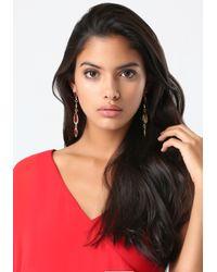 Bebe Red Linear Crystal Earrings