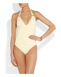 Melissa Odabash White Mexico Ruched Halterneck Swimsuit