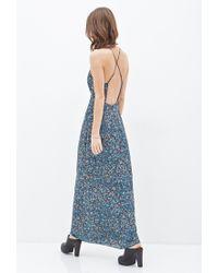 106e3cbe9f Lyst - Forever 21 Floral Chiffon Maxi Dress in Blue