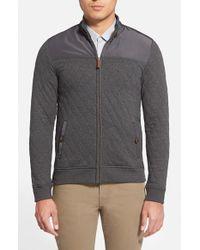 Ted Baker - Gray 'kartel' Quilted Full Zip Sweatshirt for Men - Lyst