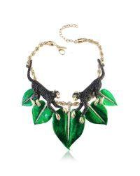 Roberto Cavalli | Green Animal Kingdom Golden And Enamel Choker W/Crystals | Lyst