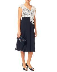 Jacques Vert Blue Lace Bodice Chiffon Dress