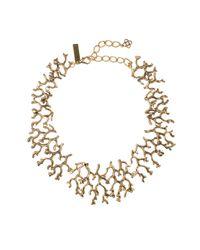 Oscar de la Renta Metallic Russian Gold Coral Branch Necklace