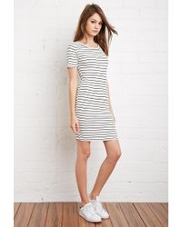 Forever 21 | Natural Stripe Ribbed Knit Dress | Lyst
