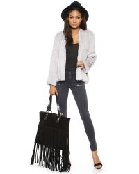 H Brand Gray Emily Hand Knit Rabbit Fur Jacket - Ash
