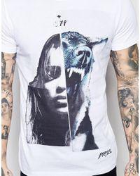 DIESEL - T-shirt Cl-t-scrap Crewneck Girl Wolf Photo Print In White for Men - Lyst