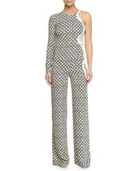 Stella McCartney - Blue One-sleeve Printed Jumpsuit - Lyst