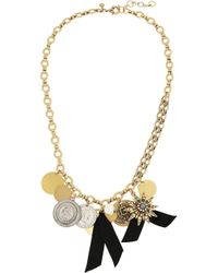 J.Crew - Black Gold-Plated, Crystal And Faux Pearl Necklace - Lyst