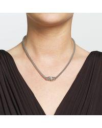 John Lewis | Metallic Silver Pave Mesh Circles Necklace | Lyst
