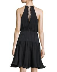 MILLY Black Madison Sleeveless Tiered Sundress