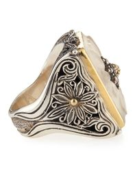 Konstantino - Metallic Square Flower Carved Frosted Crystal Ring - Lyst
