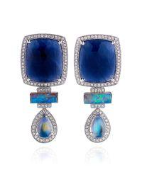 Dana Rebecca | Blue Sapphire and Diamond Earrings in White Gold | Lyst