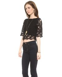 Nightcap Black Caribbean Crochet Crop Top