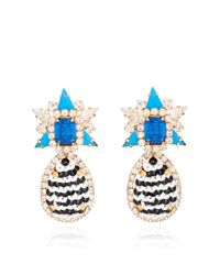 Shourouk Galaxy Sequin Earrings in Black and Blue