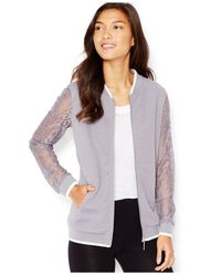 Kensie | Gray Quilted Lace-sleeve Bomber Jacket | Lyst