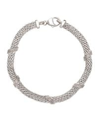 Lord & Taylor   Metallic Sterling Silver Cage Bracelet With Diamonds   Lyst