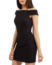 TOPSHOP Black Off The Shoulder Ribbed Body-con Dress