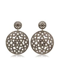 Bavna | Metallic Sterling Silver Earring With Pave Diamonds | Lyst