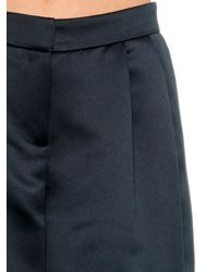 Tibi Blue Wide-Leg Cropped Satin Culottes