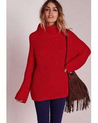 Lyst - Missguided Chunky Turtle Neck Sweater Red in Red fe3275742