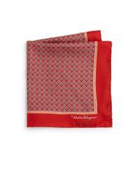 Ferragamo - Red Deco Gancini Silk Pocket Square for Men - Lyst