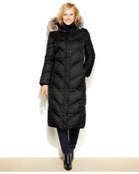 London Fog | Black Plus Size Faux-fur-hood Down Puffer Coat | Lyst