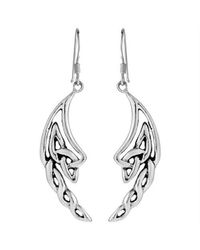 Aeravida - Metallic Alluring Celtic Knotted Angel Wings .925 Silver Dangle Earrings - Lyst