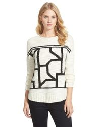 Caslon | White Pattern Crewneck Sweater | Lyst