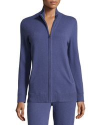 Neiman Marcus | Blue Basic Zip-up Cashmere Jacket | Lyst