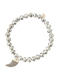 Sydney Evan - Metallic 6mm Faceted Silver Pyrite Beaded Bracelet With 14k Gold/diamond Medium Horn Charm (made To Order) - Lyst
