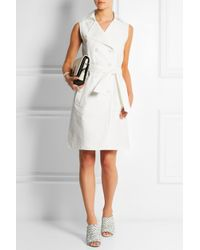 Boutique Moschino White Belted Stretch-Cotton Dress