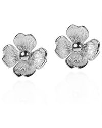Aeravida | Metallic Summer Clover Blossom .925 Sterling Silver Stud Earrings | Lyst