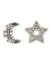 Lanvin - Gray Star And Moon Clip-on Earrings - Lyst