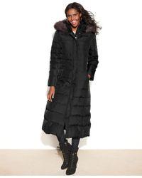 DKNY Black Petite Hooded Faux-Fur-Trim Maxi Down Puffer Coat