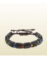 Gucci | Leather Bracelet With Multicolor Beads for Men | Lyst