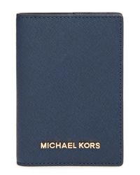 MICHAEL Michael Kors - Blue 'jet Set' Passport Case - Lyst