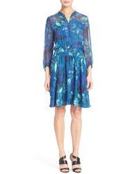 Rebecca Taylor - Blue Floral Print Silk Shirtdress - Lyst