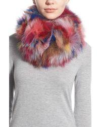 Jocelyn Multicolor Dyed Genuine Fox Fur Cowl Scarf