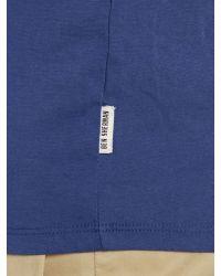 Ben Sherman Blue Union Jack Print Crew Neck Regular Fit T-shirt for men